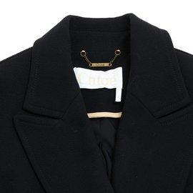 Chloé-Manteau en laine noire-Noir