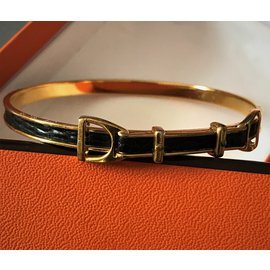 Hermès-Magnifique bracelet Vintage en Plaqué Or 18 carats et Lézard Vert foncé-Doré