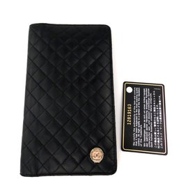 "Chanel-""Bow coco"" black lamb clutch wallet-Black"