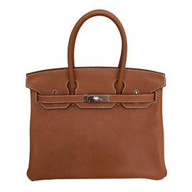 Hermès-Birkin 30 Fauve Barenia avec matériel Palladium-Marron