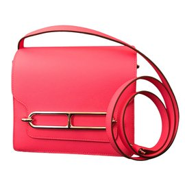 Hermès-Quincaillerie Palladium Rose Azalee Evercolor Mini Roulis-Rose