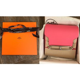Hermès-Mini Roulis Rose Azalee Evercolor Palladium Hardware-Pink