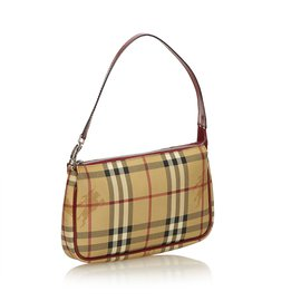 Burberry-Haymarket Check Baguette-Brown,Multiple colors,Beige