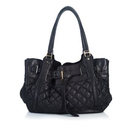 Burberry-Quilted Leather Hobo-Black