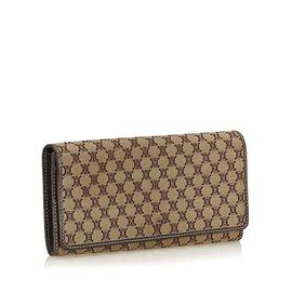 Céline-Macadam Jacquard Long Wallet-Brown,Light brown