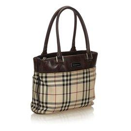 Burberry-Plaid Canvas Handbag-Brown,Multiple colors,Beige