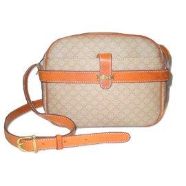 Céline-Vintage sac Macadam beige.-Beige,Orange