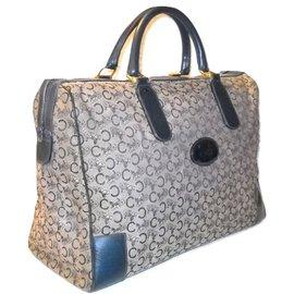 Céline-vintage blue travel leather bag.-White,Blue