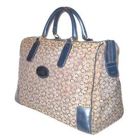 Céline-vintage sac cuir voyage bleu.-Blanc,Bleu