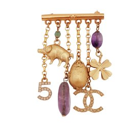 Chanel-Broche charms-Doré