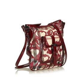 Burberry-Heart Nova Check Shoulder Bag-Red,Dark red