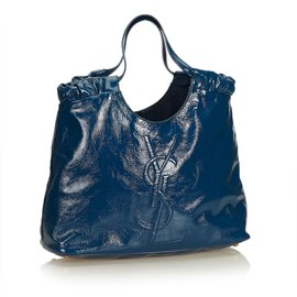 Yves Saint Laurent-Patent Leather Belle de Jour Tote-Bleu