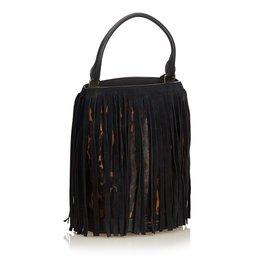 Burberry-Leopard Print Fringe Handbag-Brown,Black