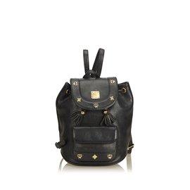 MCM-Mini sac à dos en cuir-Noir