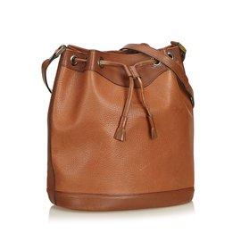 Burberry-Leather Drawstring Bucket Bag-Brown