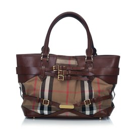 Burberry-Medium Bridle Landscape Lynher Tote-Brown,Multiple colors