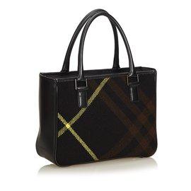 Burberry-Plaid Wool Handbag-Black,Multiple colors