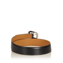 Hermès-Ceinture en cuir-Noir,Argenté
