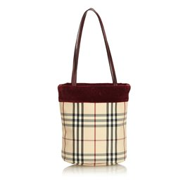 Burberry-Plaid Suede Tote-Brown,Multiple colors,Beige
