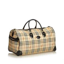 Burberry-Haymarket Check Travel Bag-Brown,Multiple colors,Beige
