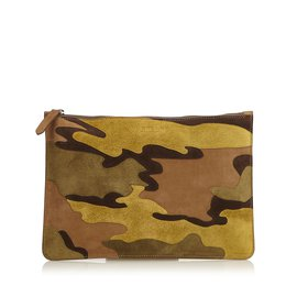 Burberry-Suede Camouflage Clutch-Brown,Green