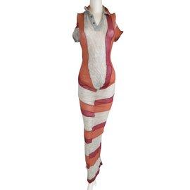 Comme Des Garcons-1995 Collection Striped Drape Dress-Multicolore