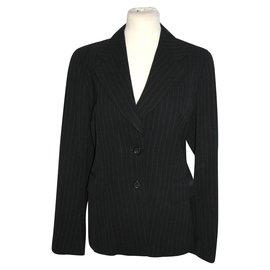 Dries Van Noten-Blazer en laine à fines rayures-Noir,Gris