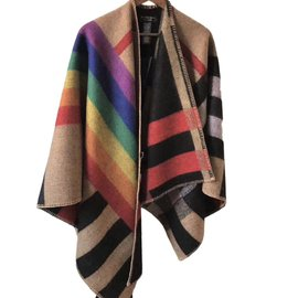 Burberry-wool and cashmere poncho coat-Multiple colors