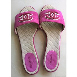 Chanel-Chaussons Coulisses Daim Rose-Fuschia