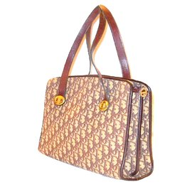 ... Christian Dior-CHRISTIAN DIOR vintage sac à main tissu Dior  oblique-Blanc,Bordeaux 5c0fbaf0c95