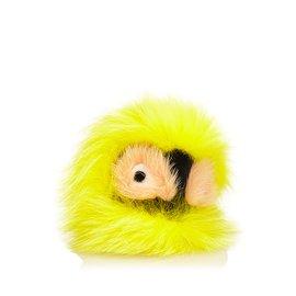 Fendi-Charme de sac de pompon en fourrure-Multicolore,Jaune