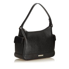 Burberry-Leather Shoulder Bag-Black