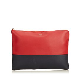 Céline-Bicolor Leather Clutch Bag-Black,Red