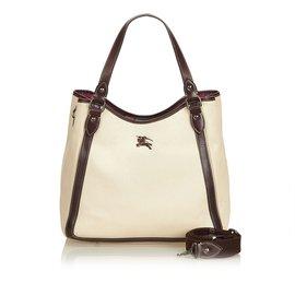 Burberry-Cotton Tote Bag-Brown,White,Cream,Dark brown