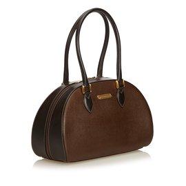 Burberry-Leather Handbag-Brown,Black,Dark brown