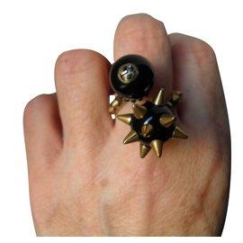 Gucci-bague 2 perles-Noir