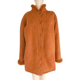 Céline-Manteau en cuir et peau de mouton-Autre