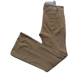 Ermanno Scervino-Pantalon en cuir-Beige