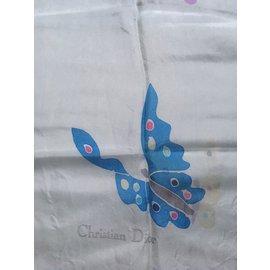 ... Christian Dior-Étole soie 125 x 42 Vintage-Bleu clair 733c6074a72