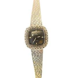 Omega-montre De Ville Tout en Or blanc & boitier Diamants-Argenté