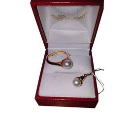 Autre Marque-Parure Bague + Pendentif Or Jaune 18 carats Perle de Culture-Doré