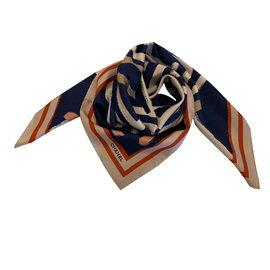 Chanel-silk scarf-Navy blue