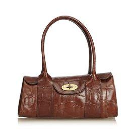 Mulberry-Embossed Leather Bayswater-Brown,Dark brown