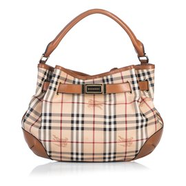 Burberry-Haymarket Check Satchel-Brown,Multiple colors,Beige