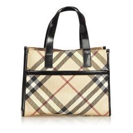 Burberry-Plaid Tote Bag-Brown,Multiple colors,Beige