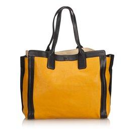 Chloé-Leather Allison-Black,Yellow