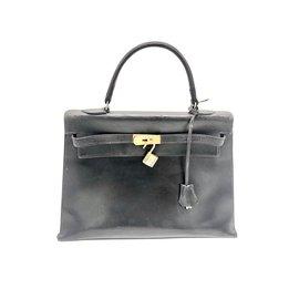 Hermès-KELLY 32 noire box-Noir