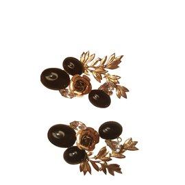 Autre Marque-Boucles d'oreilles Zoe Coste-Noir,Blanc,Bronze