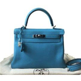 Hermès-Kelly 28 Mykonos Swift-Bleu clair