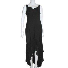 Escada-Robe de soirée asymétrique-Noir